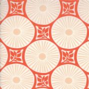 Moda Sunnyside, Kate Spain - 2841 - Coral Geometric with Leaf Print on White  - 100% Cotton Fabric